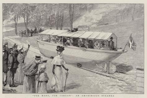 Per Mare, Per Terram, an Amphibious Steamer Giclee Print