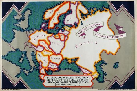North, Central and Eastern Europe, from the Series 'Where Our Exports Go', 1927 Giclee Print