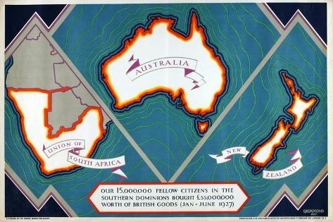 Union of South Africa, Australia, New Zealand, from the Series 'Where Our Exports Go', 1927 Giclee Print