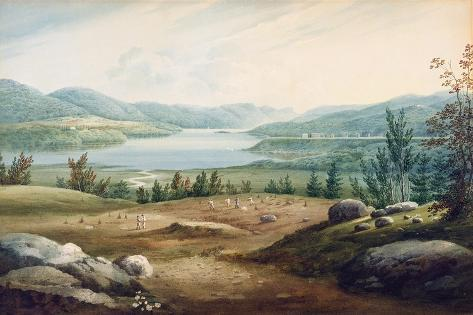 Hudson River at West Point, New York, 1820 (W/C on Paper Mounted on Cardboard) Giclee Print