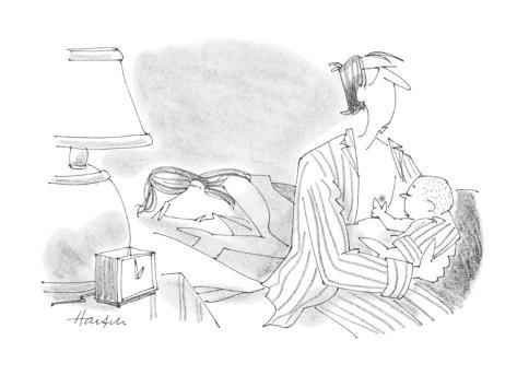 barely-awake father holds baby that is searching for a breast to feed from… - Cartoon Premium Giclee Print