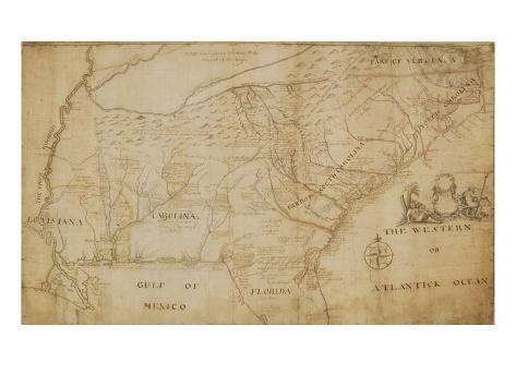 Map of the Southeastern Part of North America, 1721 (Pen and Ink and Wash on Paper) Giclee Print