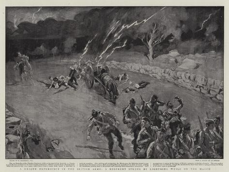 A Unique Experience in the British Army, a Regiment Struck by Lighting While on the March Giclee Print