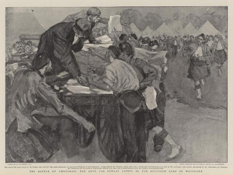 The Battle of Omdurman, the Rush for Sunday Papers in the Southern Camp in Wiltshire Giclee Print
