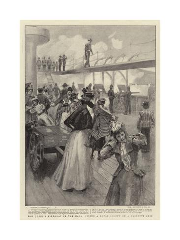 The Queen's Birthday in the Navy, Firing a Royal Salute on a Barbette Ship Giclee Print