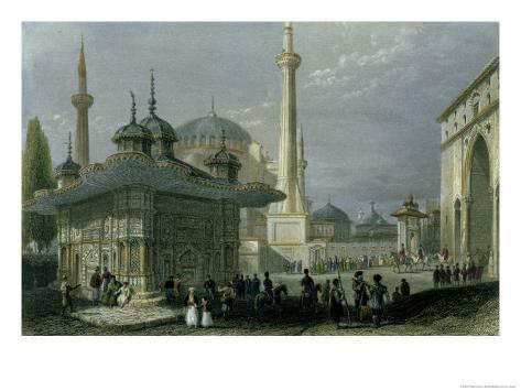 Fountain and Square of St. Sophia Istanbul Giclee Print