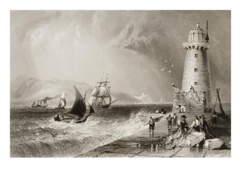 South Wall Lighthouse with Howth Hill in the Distance, Dublin Giclee Print