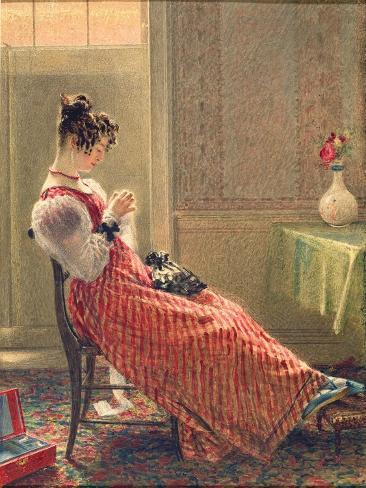 Lady Sewing, C.1830 Giclee Print