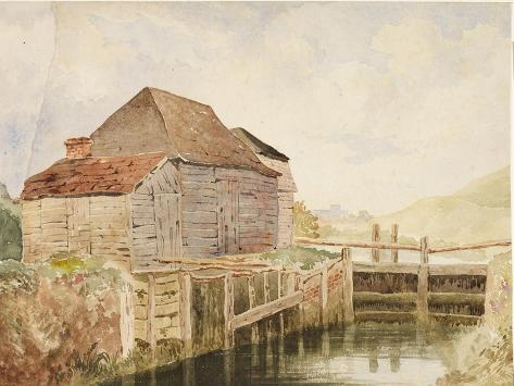 Old Mill and Lock Gates (St. Catherine's), C.1820-40 Stampa giclée