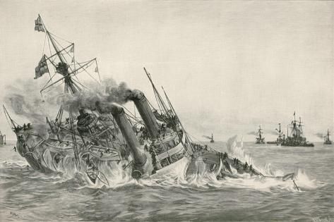 The Sinking of H. M. S. Victoria after Collision with H. M. S. Camperdown Giclee Print