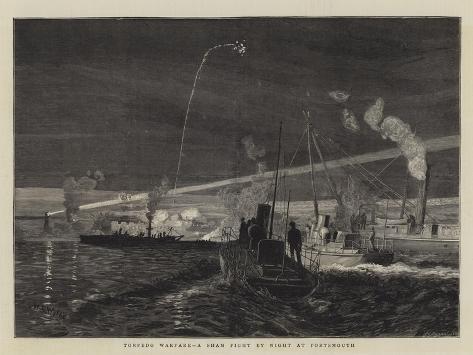 Torpedo Warfare, a Sham Fight by Night at Portsmouth Giclee Print