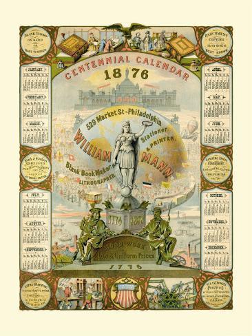 William Mann 1876 Centennial Calendar Photo
