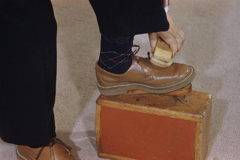 Man Buffing His Shoes Photographic Print