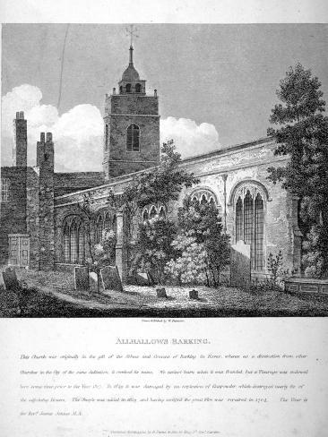 All Hallows-By-The-Tower Church, London, 1810 Giclee Print