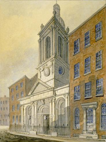 North-East View of the Church of St Peter-Le-Poer and Old Broad Street, City of London, 1815 Giclee Print