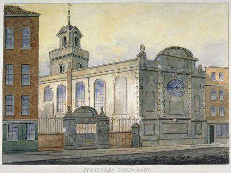 South-East View of the Church of St Stephen, Coleman Street, City of London, 1815 Giclee Print