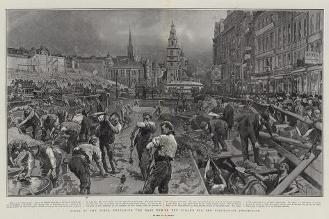 Signs of the Times, Preparing the East End of the Strand for the Coronation Procession Giclee Print