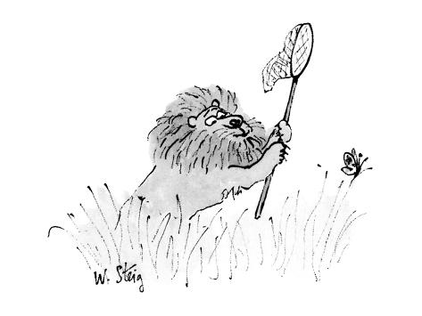 Lion with butterfly net chases butterfly. - New Yorker Cartoon Premium Giclee Print