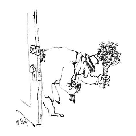 Man enters house with flowers. - New Yorker Cartoon Premium Giclee Print