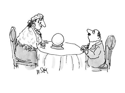 Sheepish man looking at fortune teller who is looking in a crystal ball wi… - New Yorker Cartoon Premium Giclee Print