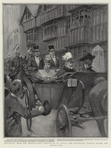 Returning from the Thanksgiving Service in St Paul's, the Procession Passing Staple Inn Giclee Print
