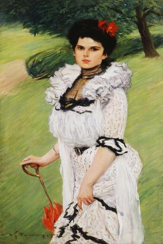 The White Dress - Portrait of a Young Woman in a Park, 1903 Giclee Print