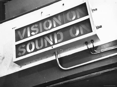 Electrical Sign Showing That the Sound and Vision Are on in the BBC Television Studio Photographic Print