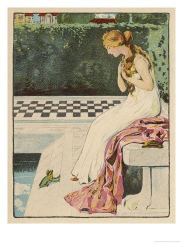 The Princess Discovers a Frog at Her Feet: Curiously He Too is Wearing a Crown Giclee Print