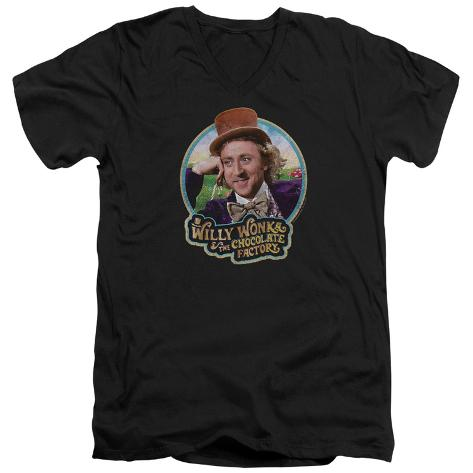 Willy Wonka And The Chocolate Factory/Smiling Willy Badge V-Neck V-Necks