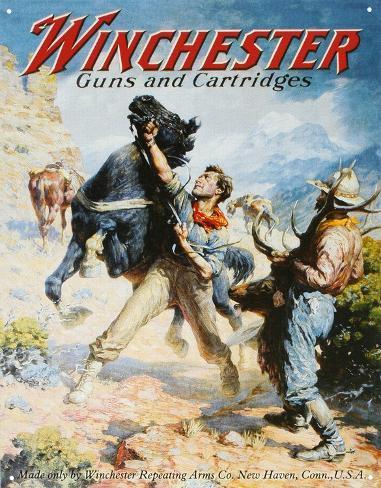 Winchester Guns and Cartridges Cowboys Tin Sign