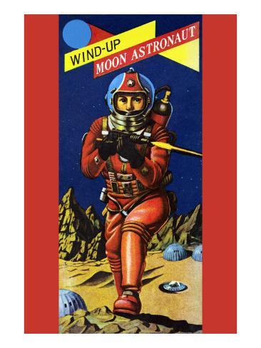 Wind-Up Moon Astronaut Stretched Canvas Print