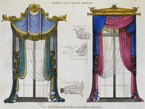 Window Curtains for Drawing Room 1 by George Smith from Cabinet Maker and Upholsterer's Guide Giclee Print