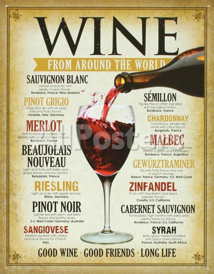 オールポスターズの wine around the world tin sign ブリキ看板
