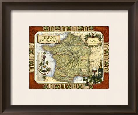 Wine Map of France Framed Art Print