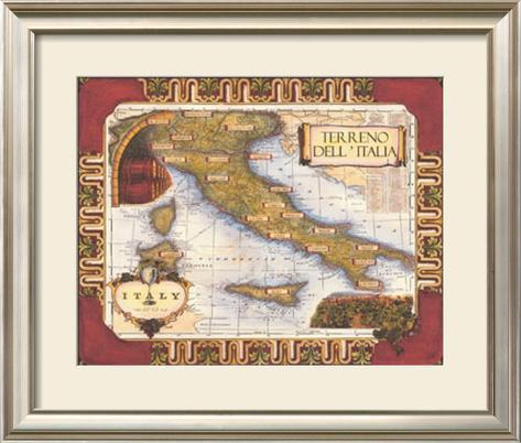 Wine Map of Italy Framed Art Print