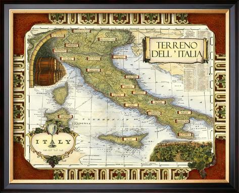 Wine Map of Italy Framed Giclee Print