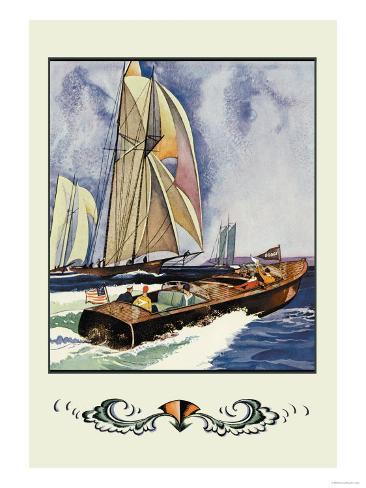 Cruisers and Sailboats Lámina