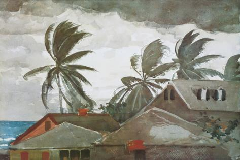 Hurricane, Bahamas, c.1898 Stretched Canvas Print