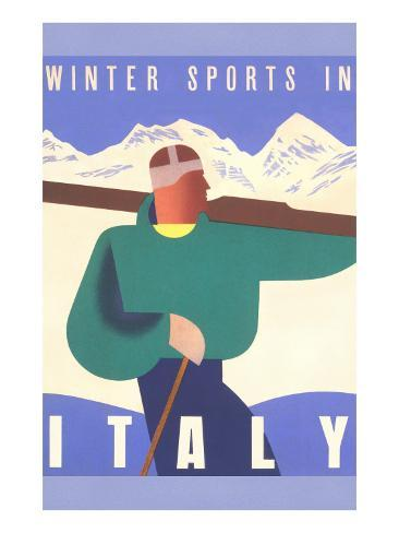 Winter Sports in Italy Art Print