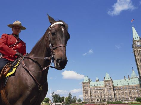 Royal Canadian Mounted Policeman Outside the Parliament Building in Ottawa, Ontario, Canada Photographic Print