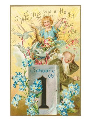 Wishing You a Happy New Year, Victorian Angel, Father Time Lámina giclée prémium