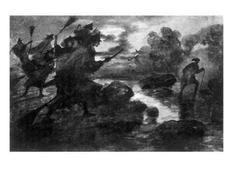 Witches at Stream Lámina giclée