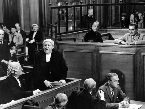 Witness For The Prosecution, John Williams, Charles Laughton, Henry Daniell, Tyrone Power, 1957 Foto