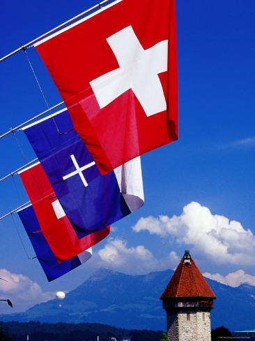 Canton Flags with Balloon in Distance at Kapellbrucke, Lucerne, Lucerne, Switzerland Photographic Print