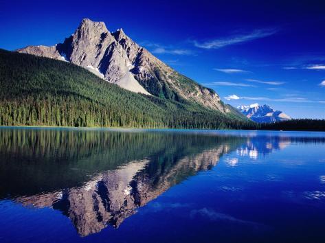 Reflection of Wapta Mountain on Emerald Lake, Yoho National Park, Canada Photographic Print