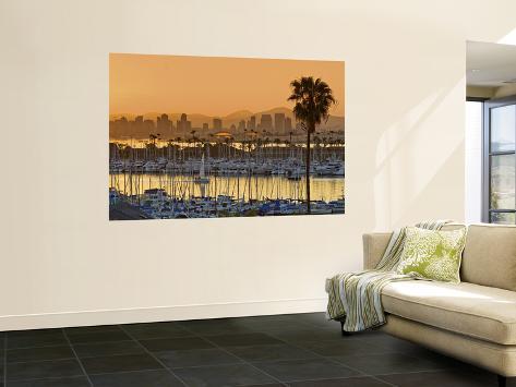 Yachts across San Diego Bay at Sunrise, Looking Towards Downtown Seinämaalaus