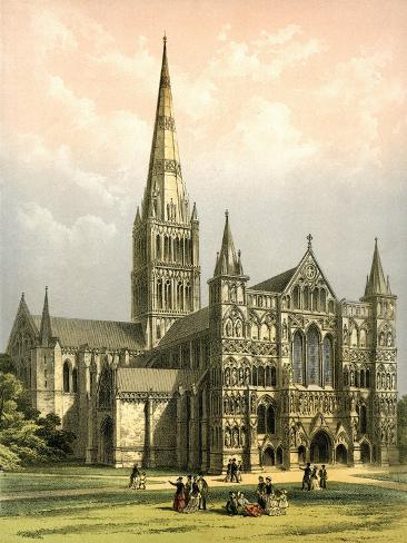 Salisbury Cathedral, Wiltshire, C1870 Giclee Print