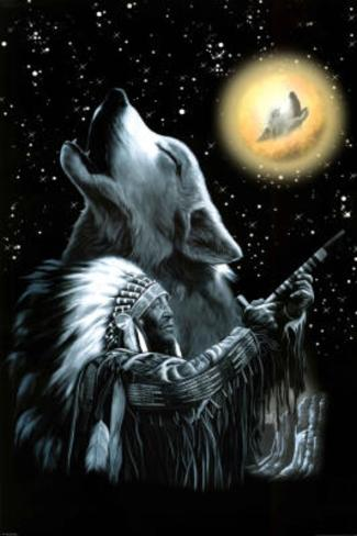 Wolf Moon - Native American Poster