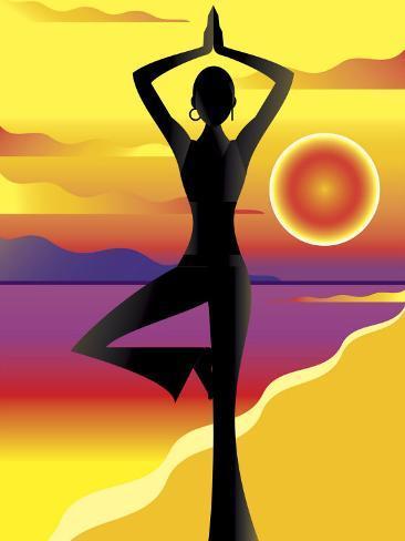 Woman Doing Yoga on Beach at Sunset Photo
