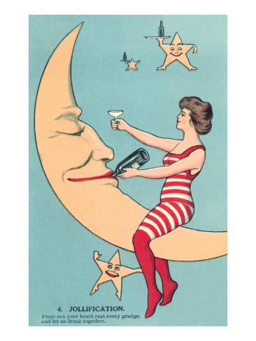 Woman Giving Wine to Moon Art Print